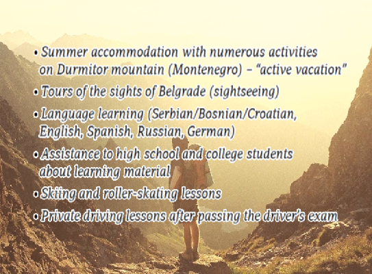 transfer of knowledge teaching lessons training driving skiing learning foreign languages high school college students tours durmitor zabljak belgrade